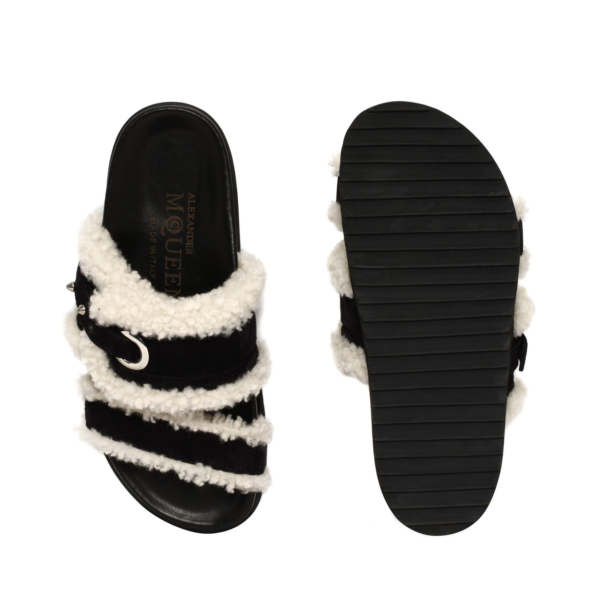 Suede and shearling sandals Alexander McQueen Collections Cheap Online Discount Pre Order In China Cheap Price New Lower Prices Order Online S0loJ00T