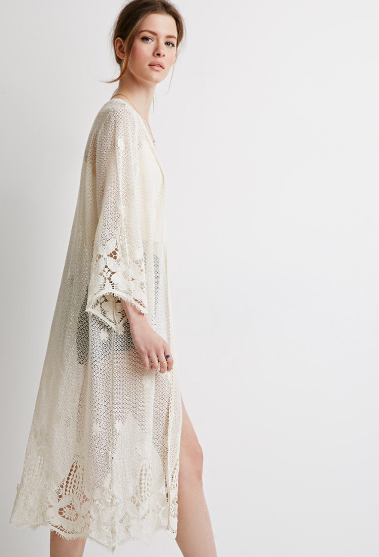 Forever 21 Crocheted Open-front Maxi Cardigan in Natural | Lyst