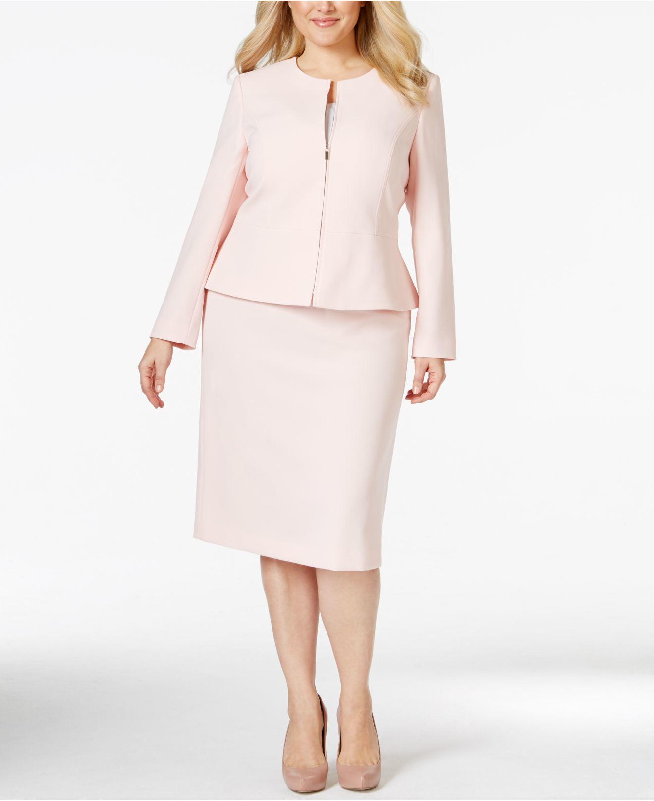 Tahari Pink Plus Size Zip-front Peplum Skirt Suit