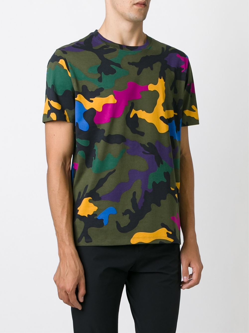 Valentino Camouflage Print Cotton T Shirt In Multicolor