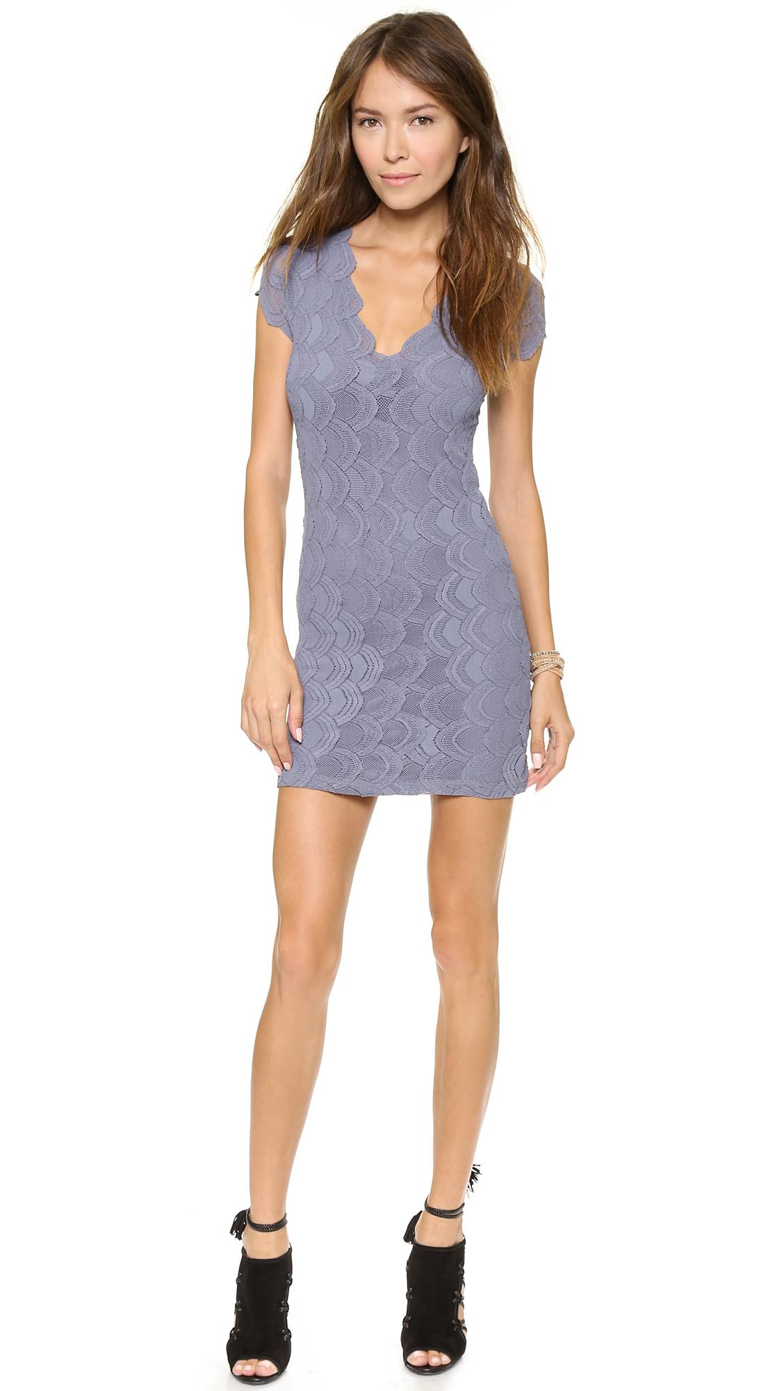 dfa0b8b2a8 Lyst - Nightcap Deep V Cap Sleeve Dress in Blue