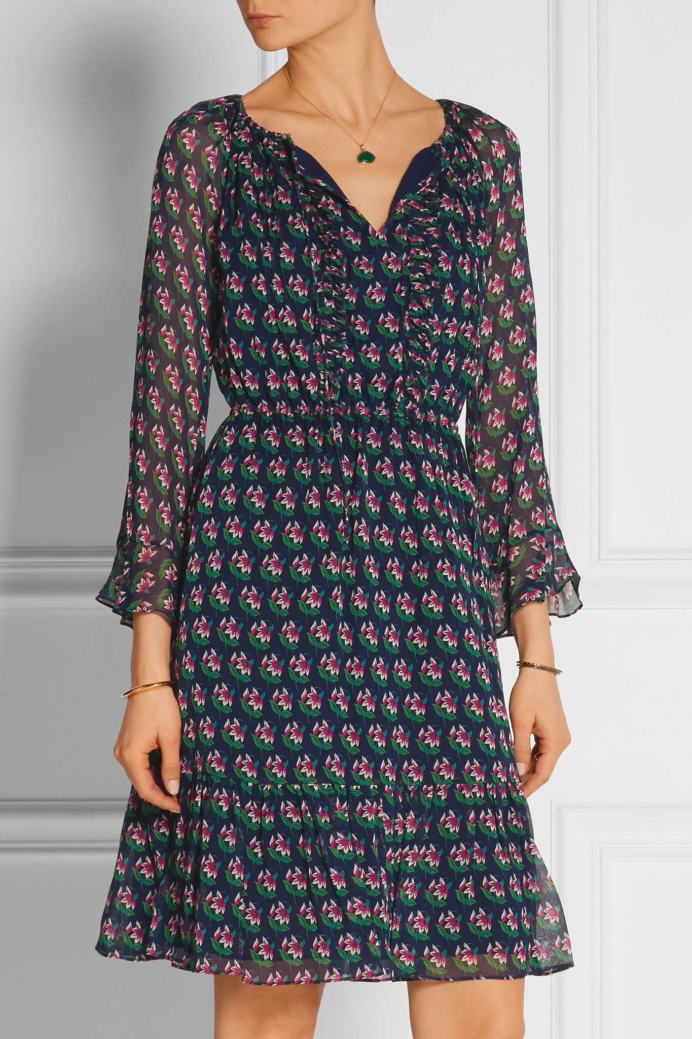 Lyst Diane Von Furstenberg Simonia Printed Silk Chiffon