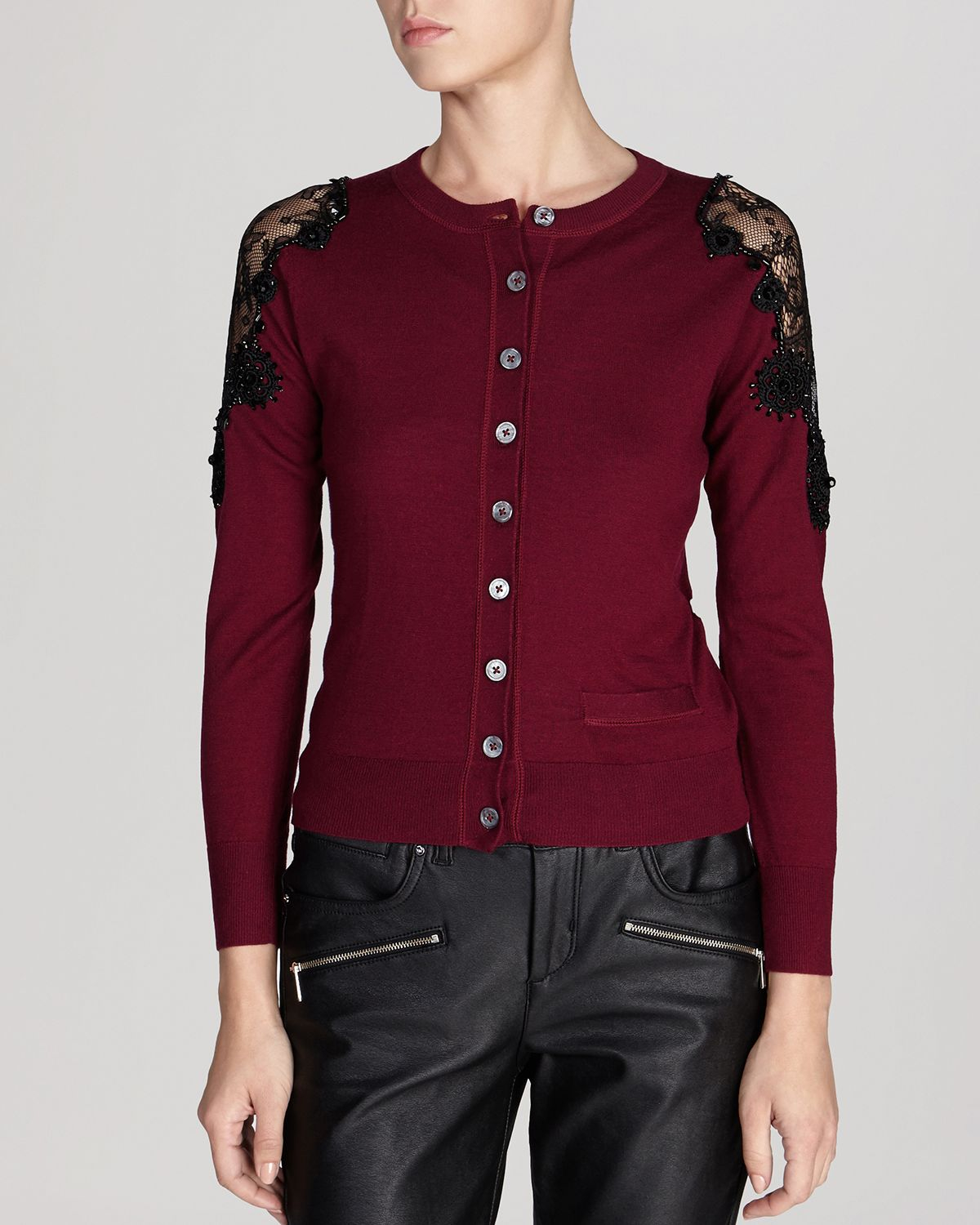 Karen millen Cardigan - Beaded Lace Shoulder Knit in Red | Lyst