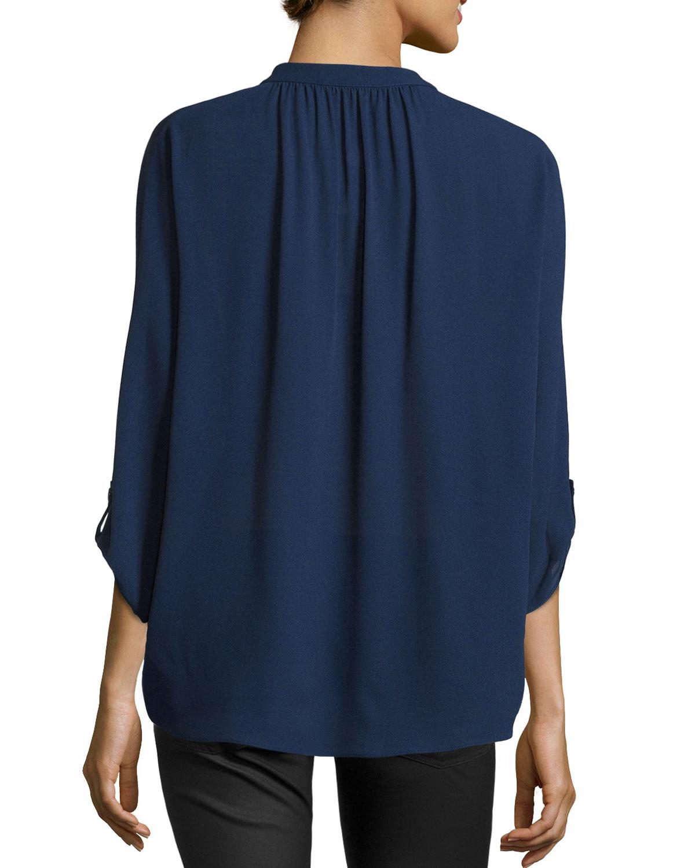 michael kors slit front silk blouse in blue indigo lyst. Black Bedroom Furniture Sets. Home Design Ideas
