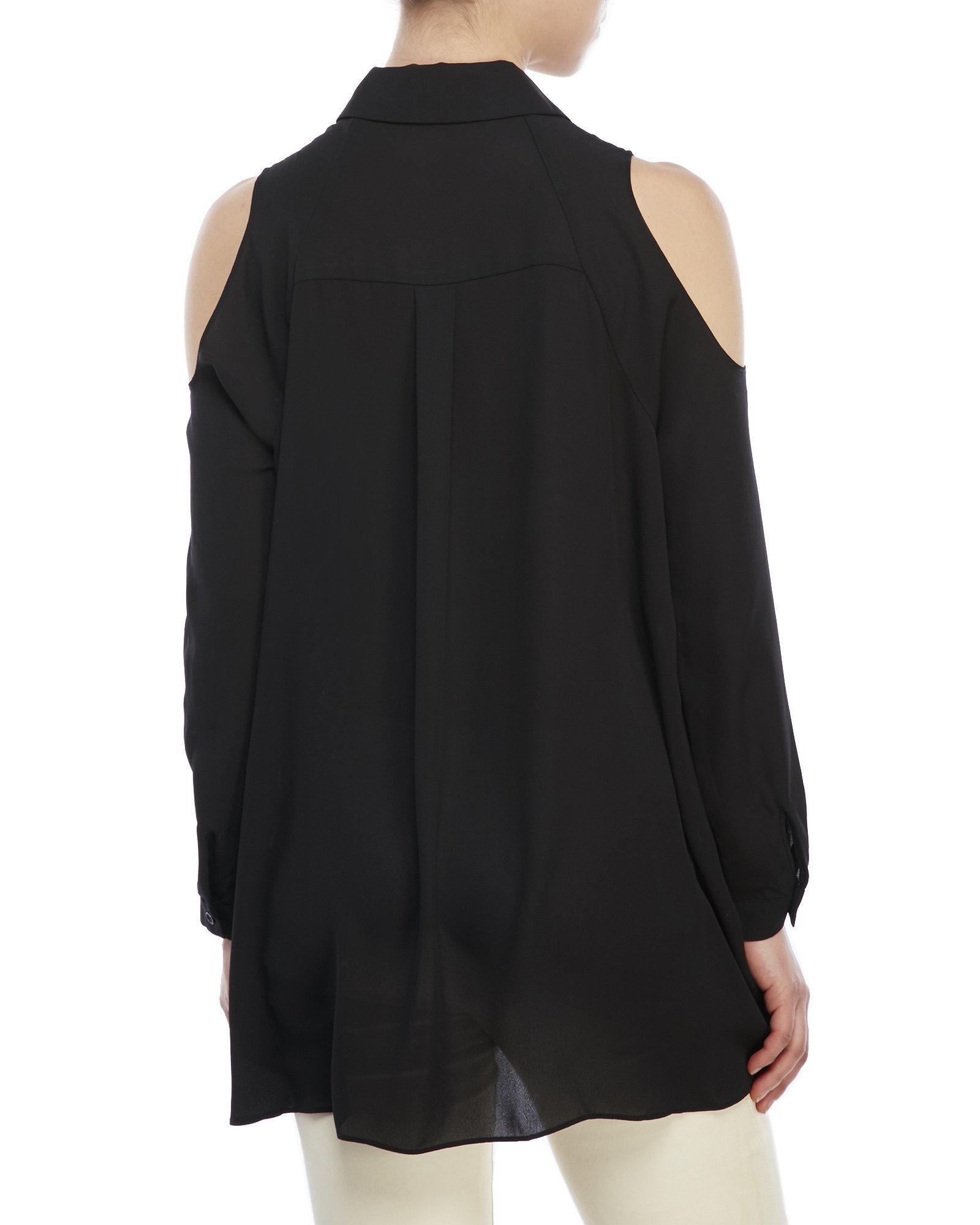 ab91f2ebb687c7 Lyst - ABS By Allen Schwartz Cold-Shoulder Button-Down Shirt in Black