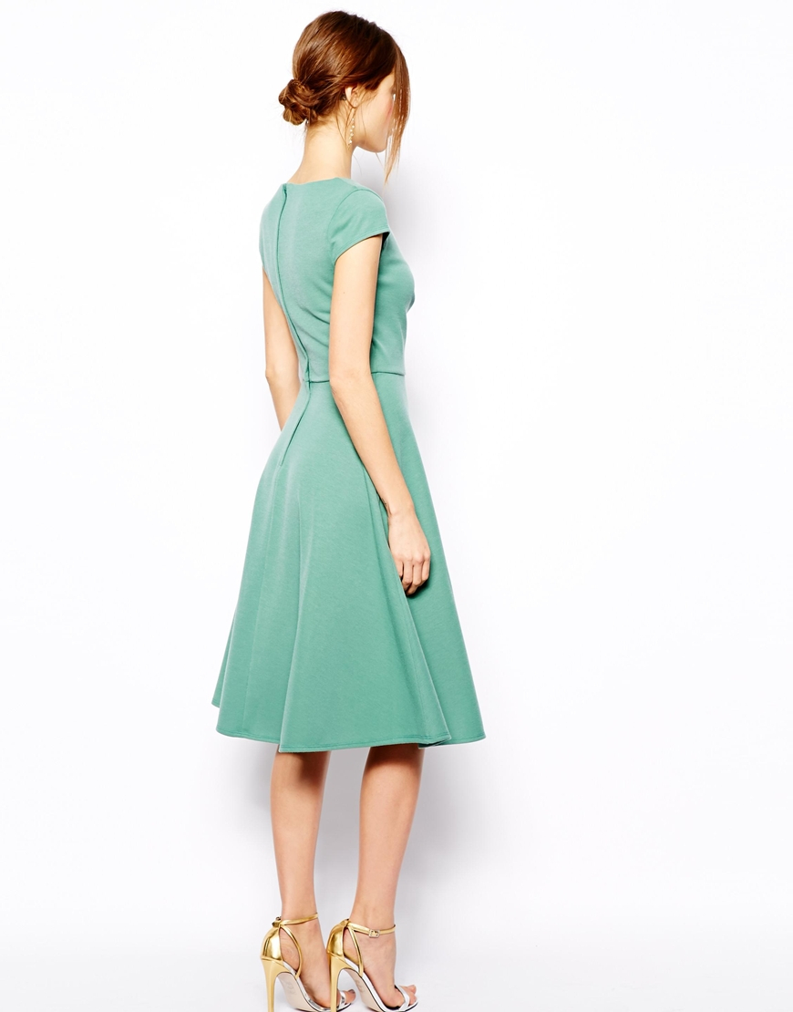 336586419a Lyst - ASOS Midi Skater Dress With Full Skirt And Wrap Front In ...