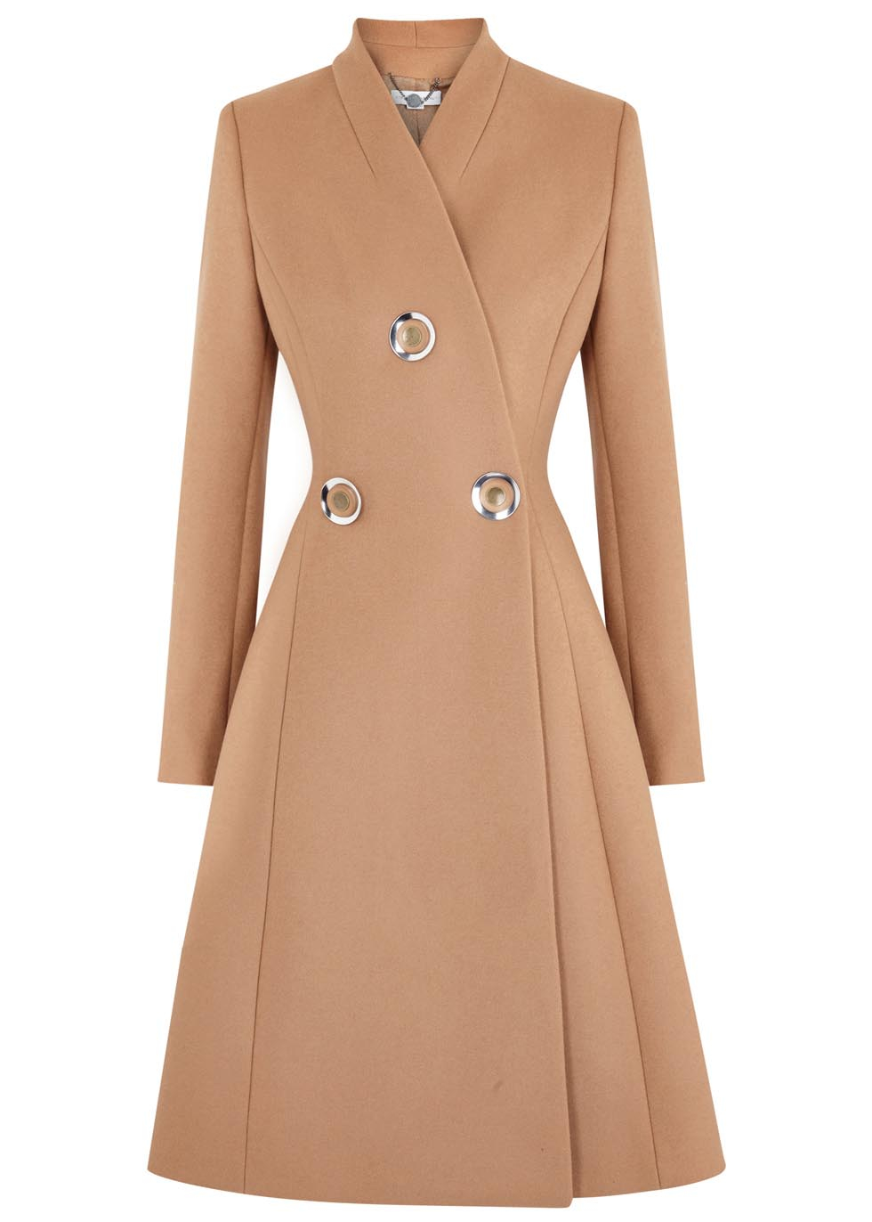Stella Mccartney Camel Flared Wool Coat In Natural Lyst