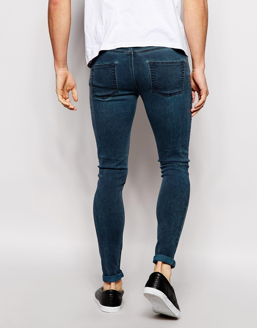 Asos Extreme Super Skinny Jeans With Coated Marble Effect in Gray