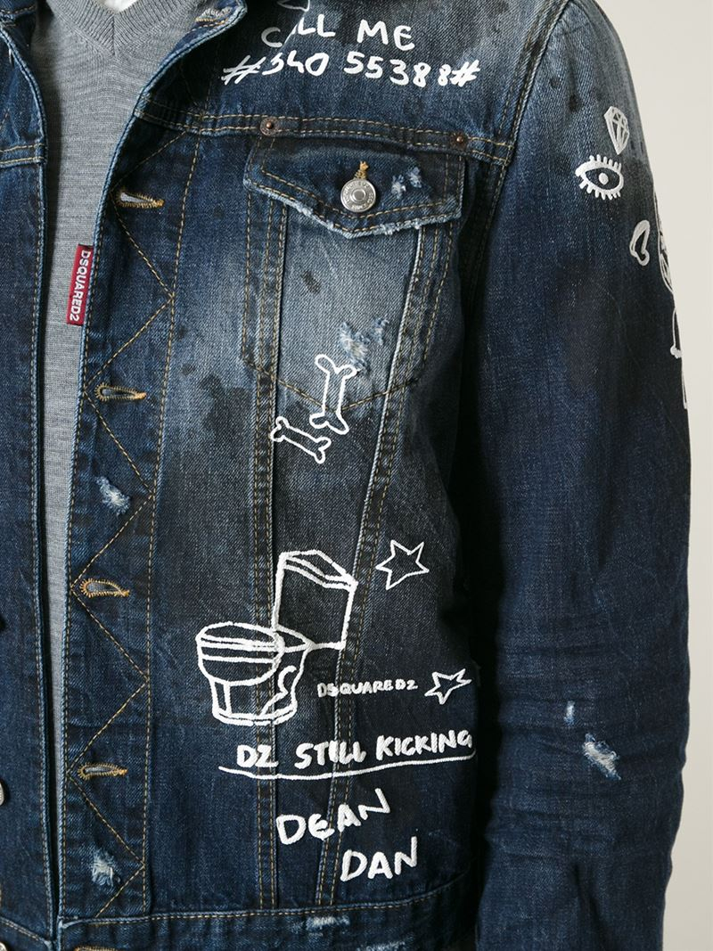 Dsquared 178 Hand Painted Denim Jacket In Blue For Men Lyst