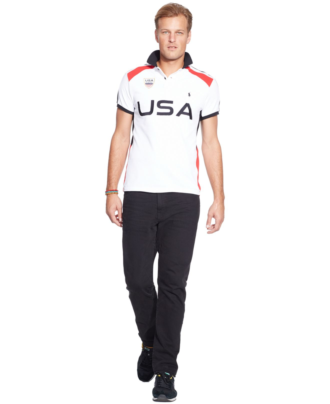 polo ralph big and usa solid mesh polo in