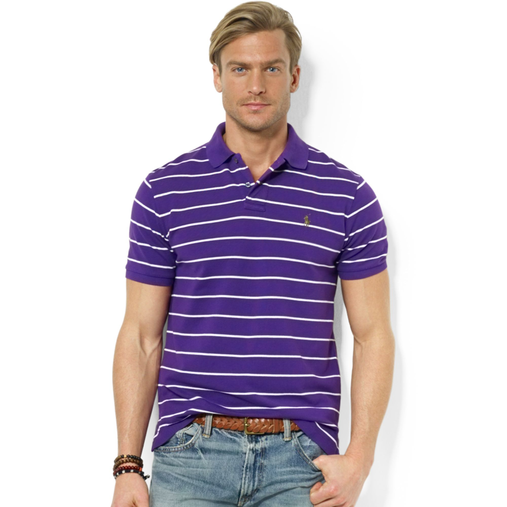 f8dba53c6d05 ... authentic lyst ralph lauren polo customfit striped stretchmesh polo  shirt in 11607 be656