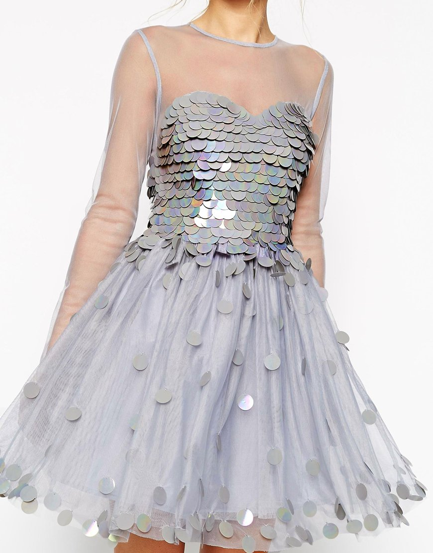 Lyst - Asos Salon Shimmer Bodice Prom Dress in Metallic
