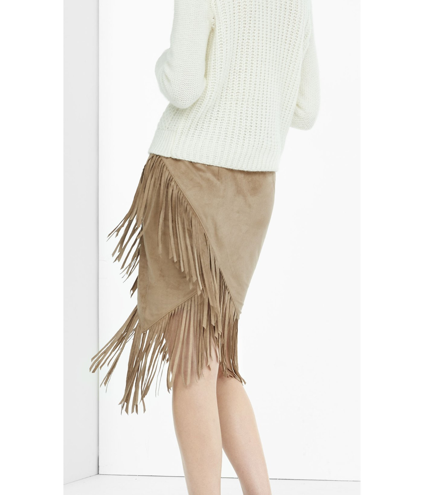 a86c109a8 Express Faux Suede Fringed Wrap Pencil Skirt in Natural - Lyst