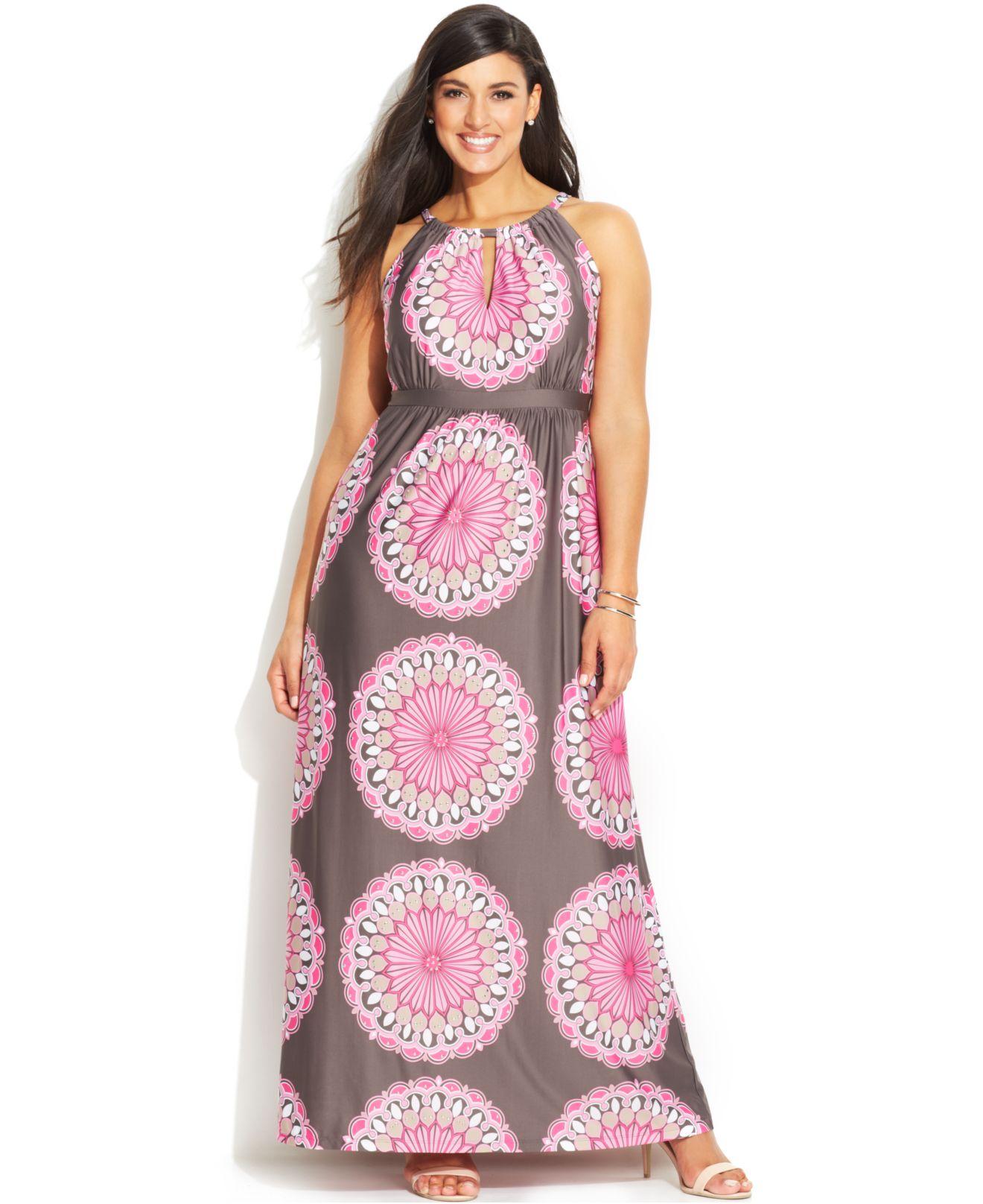 Lyst - Inc International Concepts Plus Size Printed Keyhole Maxi Dress