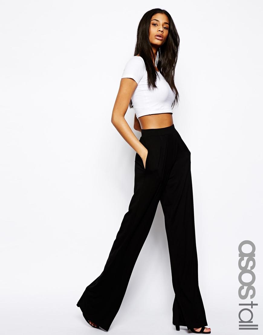ASOS DESIGN Tall jersey basic wide leg trousers - Black Asos Tall b6UKA