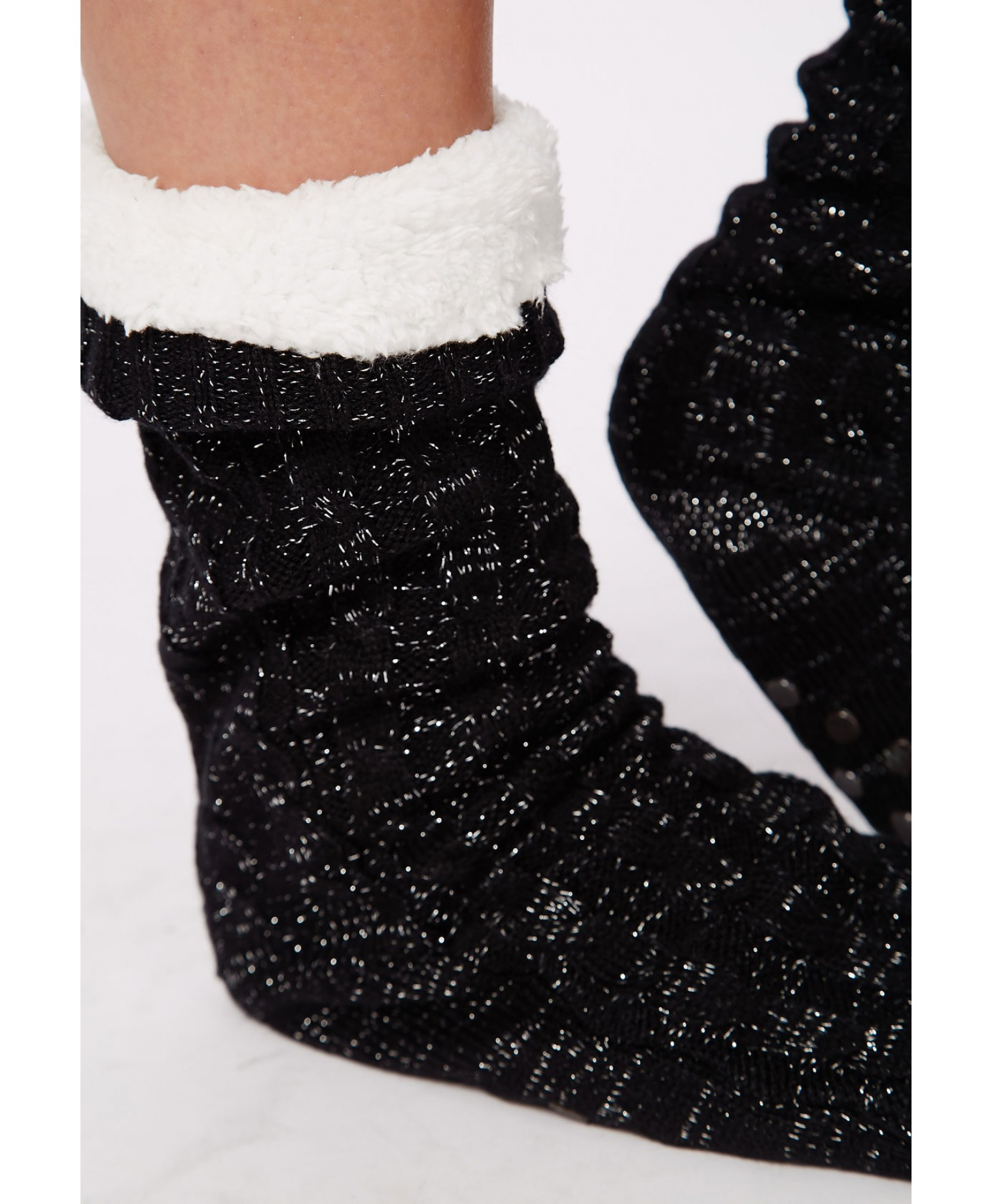 Missguided Chunky Cable Knit Slipper Socks Black In Black | Lyst