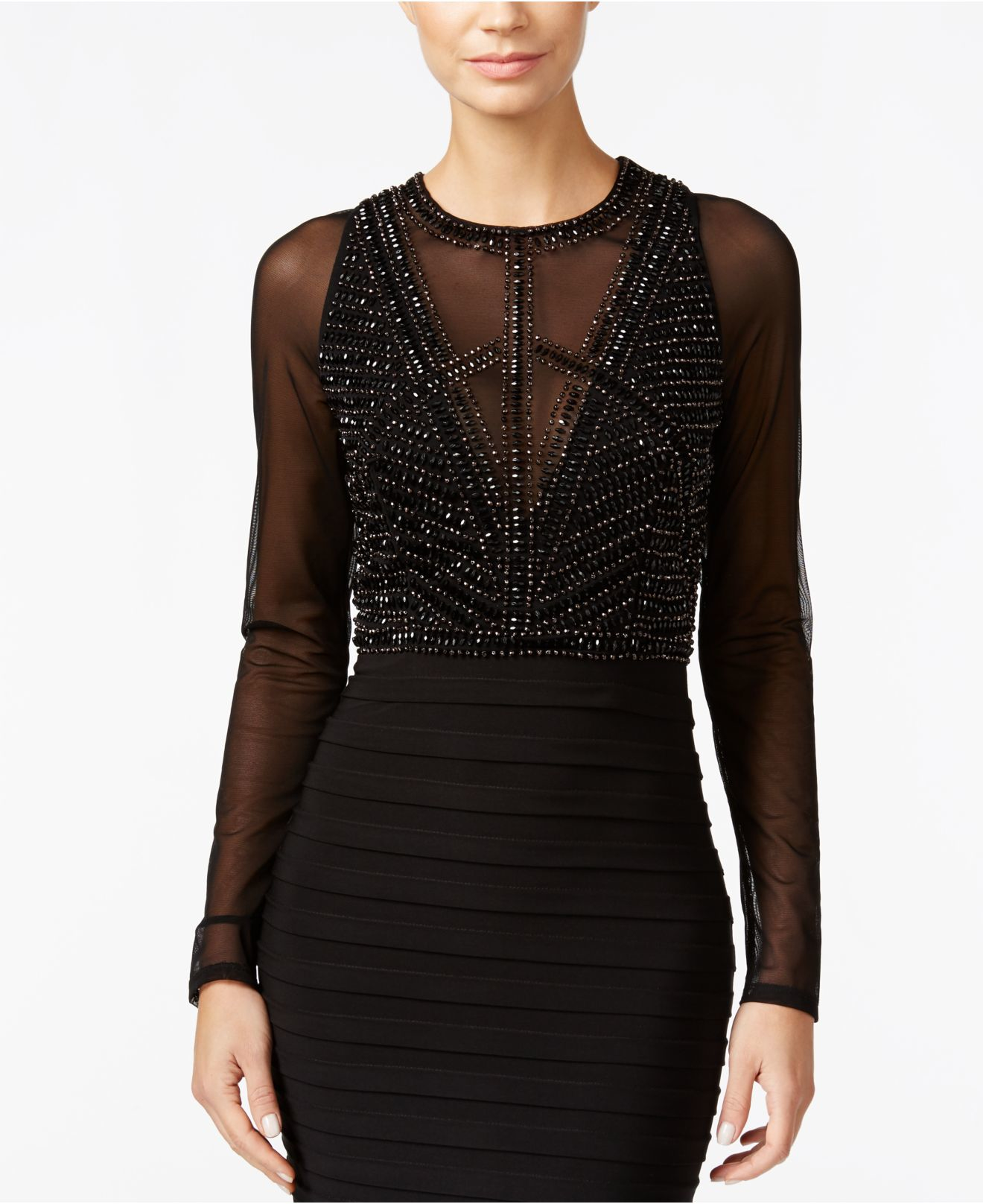 Xscape Beaded Sheer Back Dresses