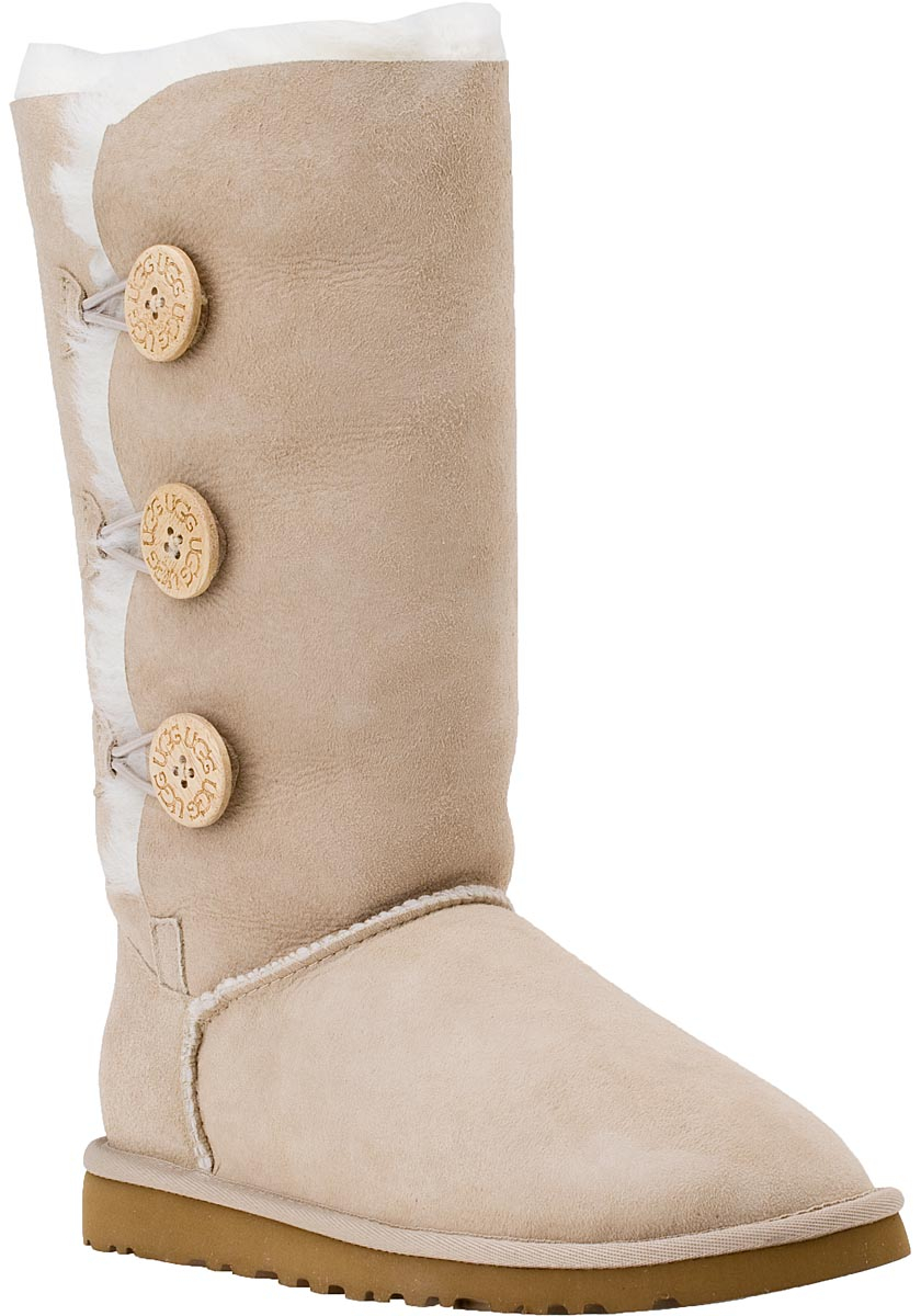ugg bailey button triplet boot sand suede in natural lyst. Black Bedroom Furniture Sets. Home Design Ideas