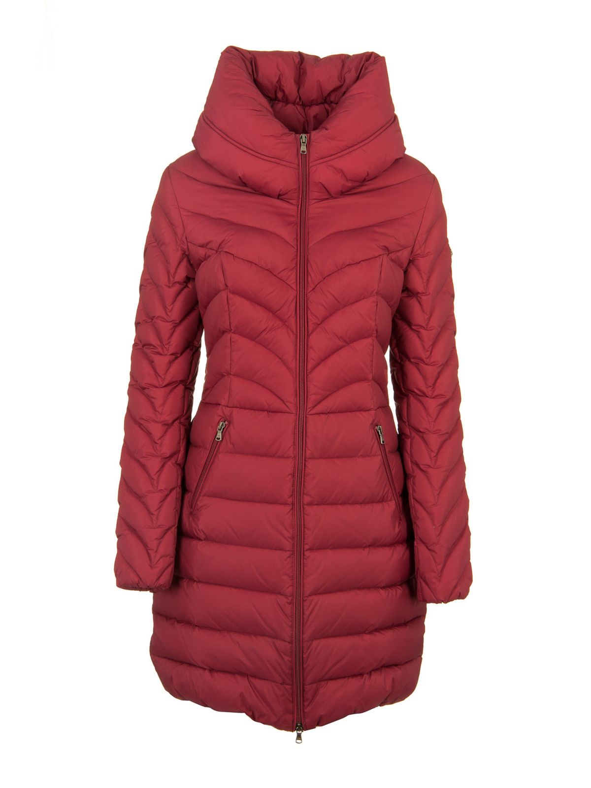 Guess Long Quilted Jacket in Red | Lyst