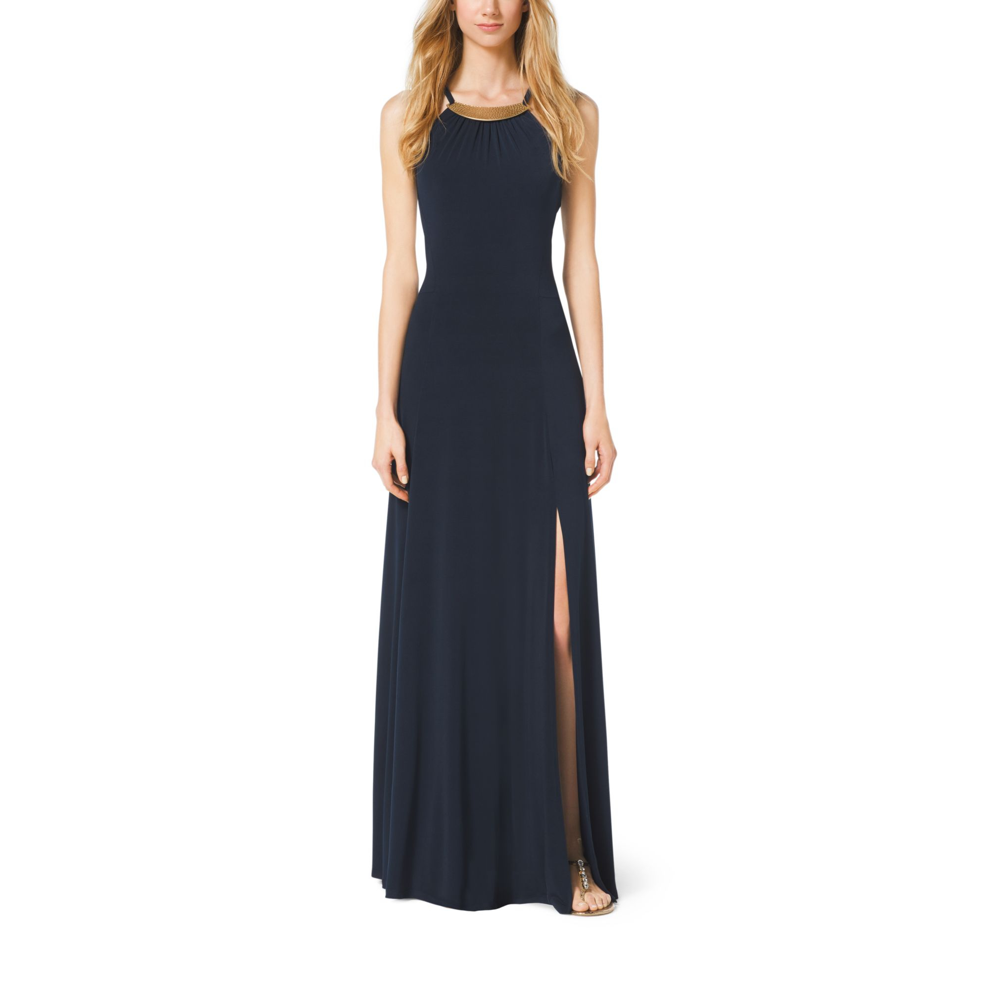 Lyst - Michael Kors Embellished Maxi Dress in Blue