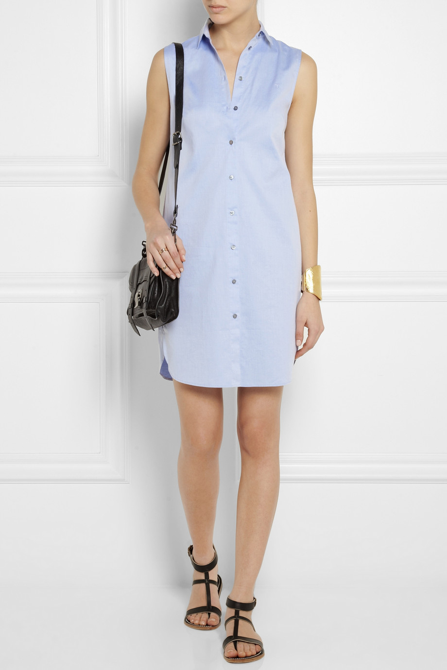 t by alexander wang cottonpoplin mini shirt dress in blue