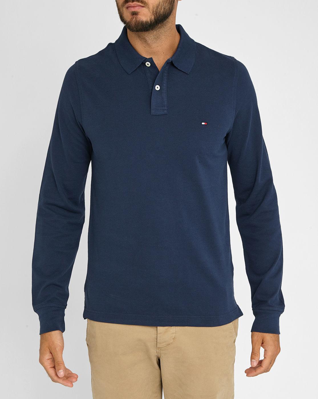 tommy hilfiger navy premium piqu long sleeve polo shirt. Black Bedroom Furniture Sets. Home Design Ideas