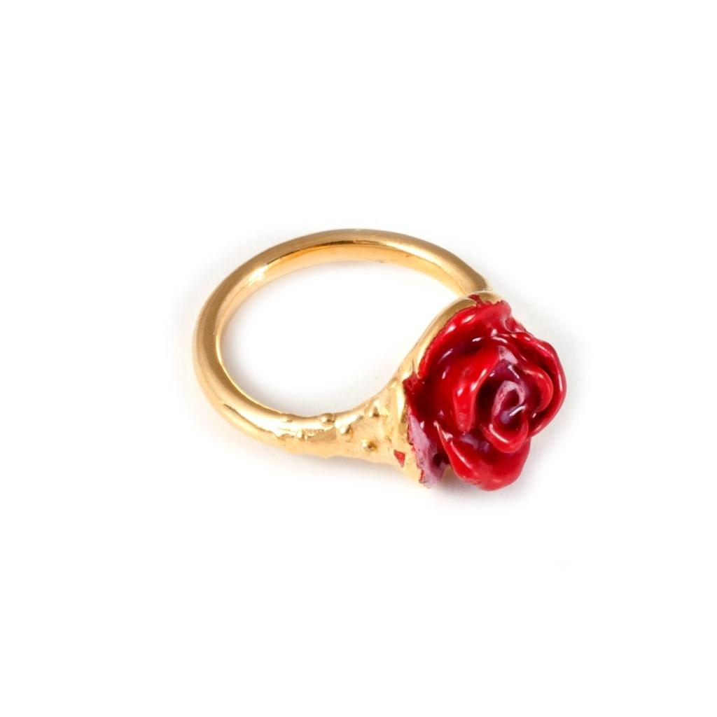 Leivan kash Rose Enamel Pinky Ring Gold & Red in Pink rose