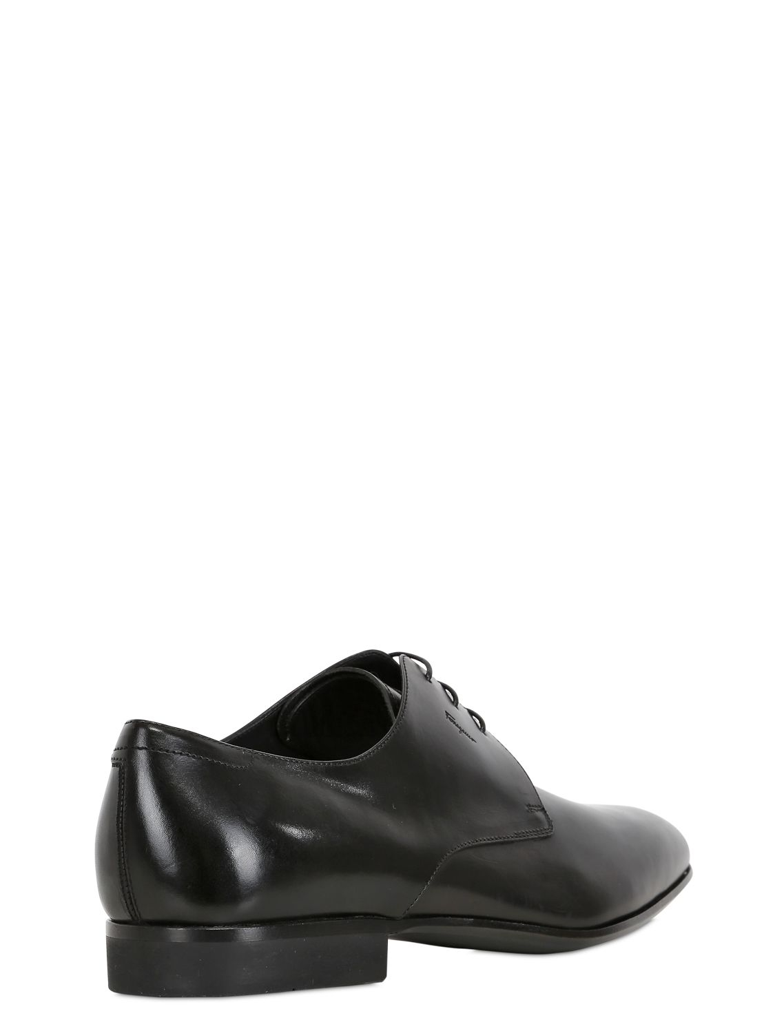 ferragamo palagio leather derby lace up shoes in black for