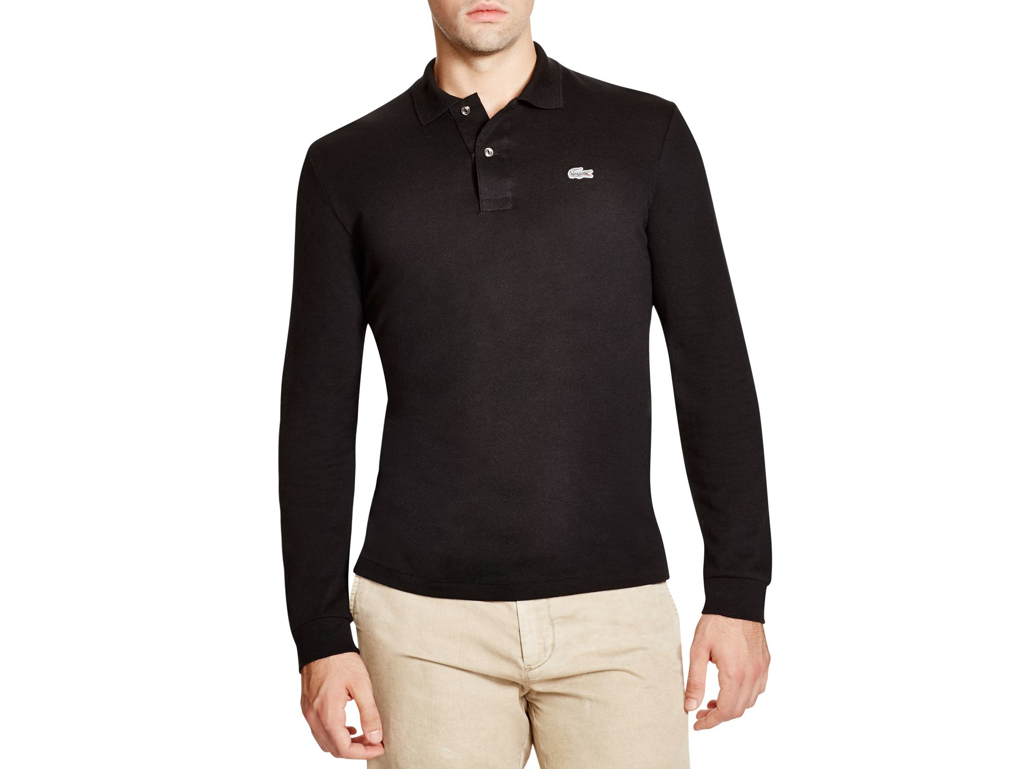 e5896a36 ... buy lacoste croc stretch long sleeve slim fit polo in black for men lyst  cf8d9 09639