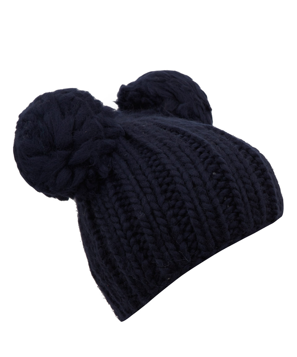 Eugenia Kim Navy Mimi Pom Pom Ears Beanie Hat in Blue for Men - Lyst 366b6ba8248