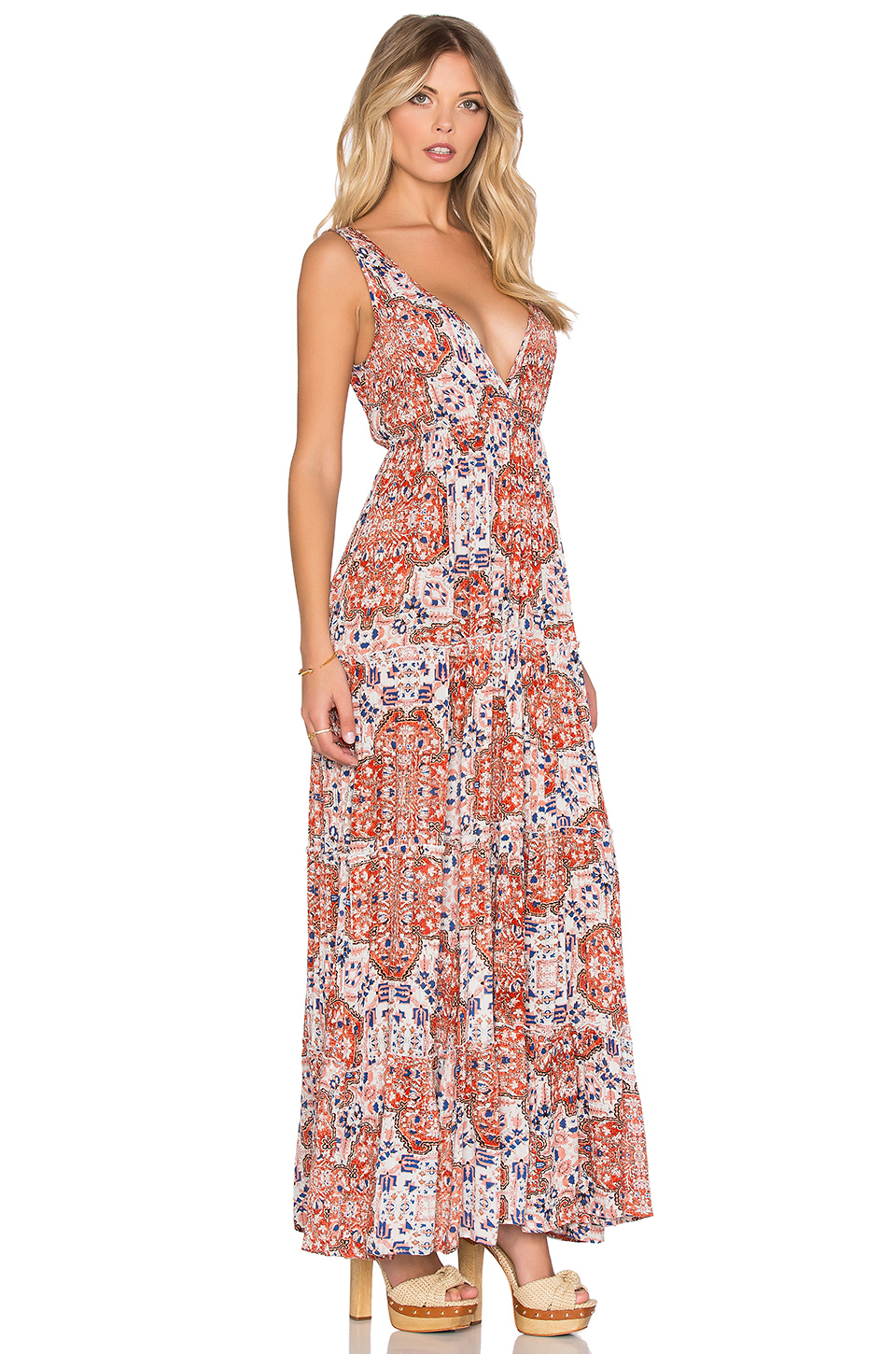 Multicolor and gold maxi dress