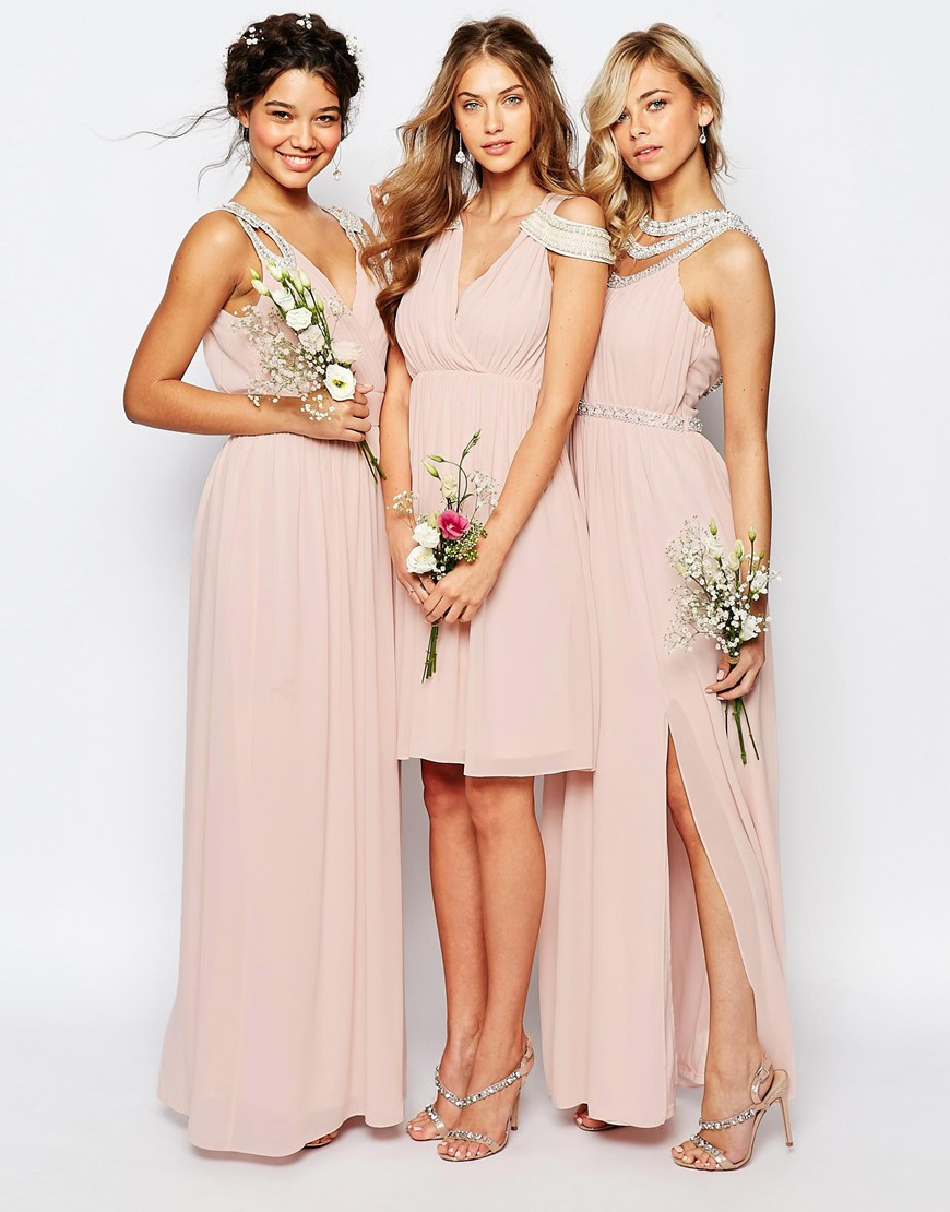 Tfnc London Wedding Wrap Embellished Maxi Dress In Pink
