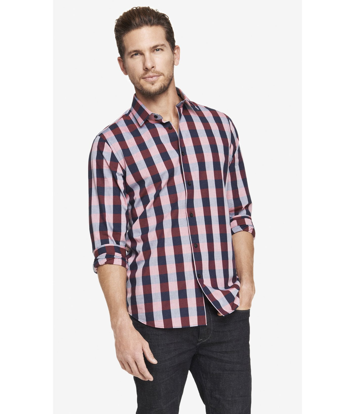 Express modern fit plaid dress shirt in red for men kodak red lyst