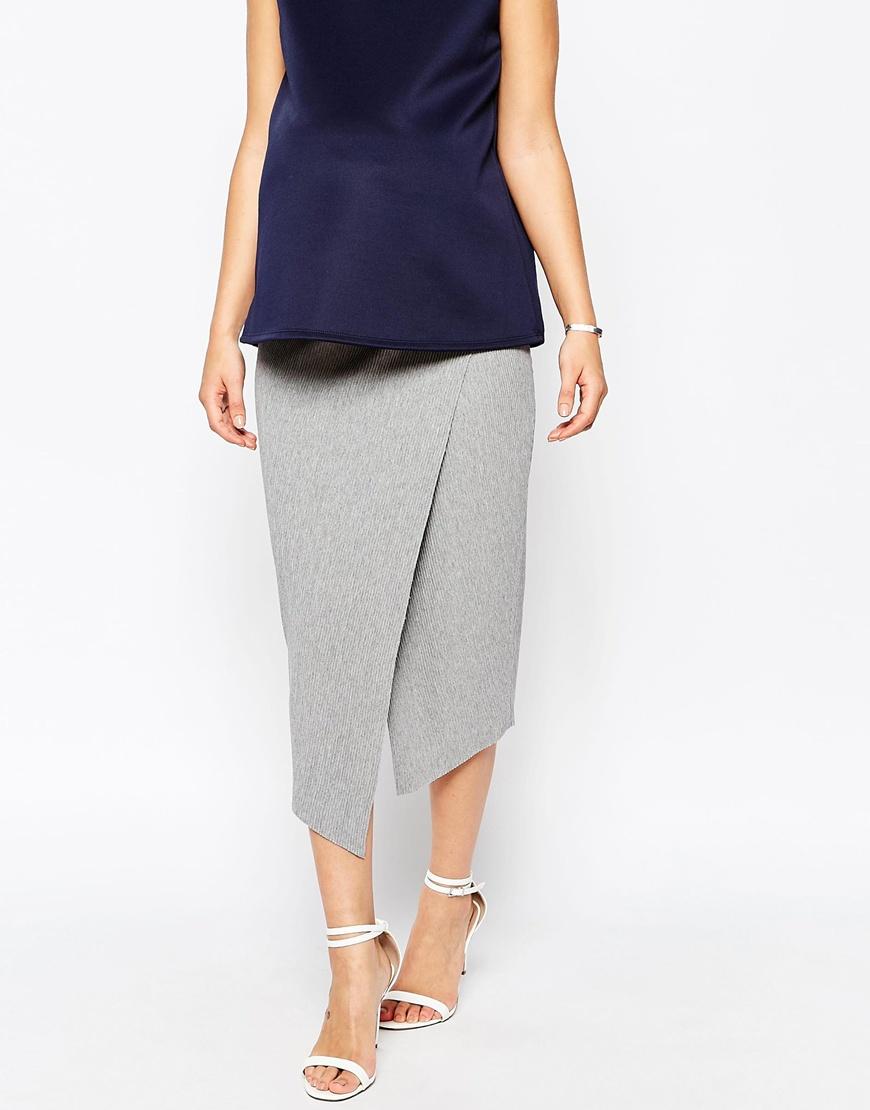 asos wrap midi pencil skirt in rib in gray lyst