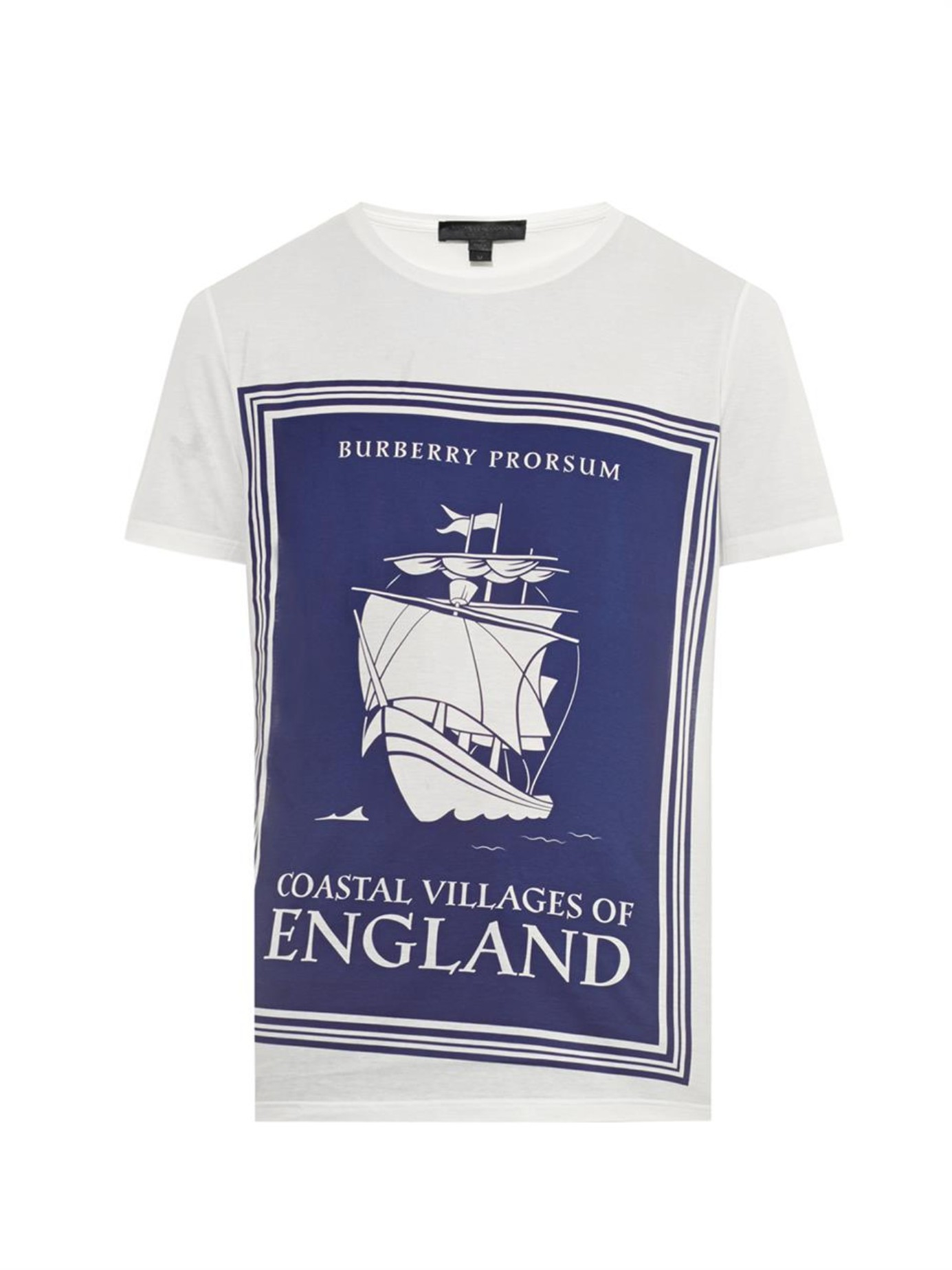 Book Cover White Jeans : Burberry prorsum book cover print cotton t shirt in white