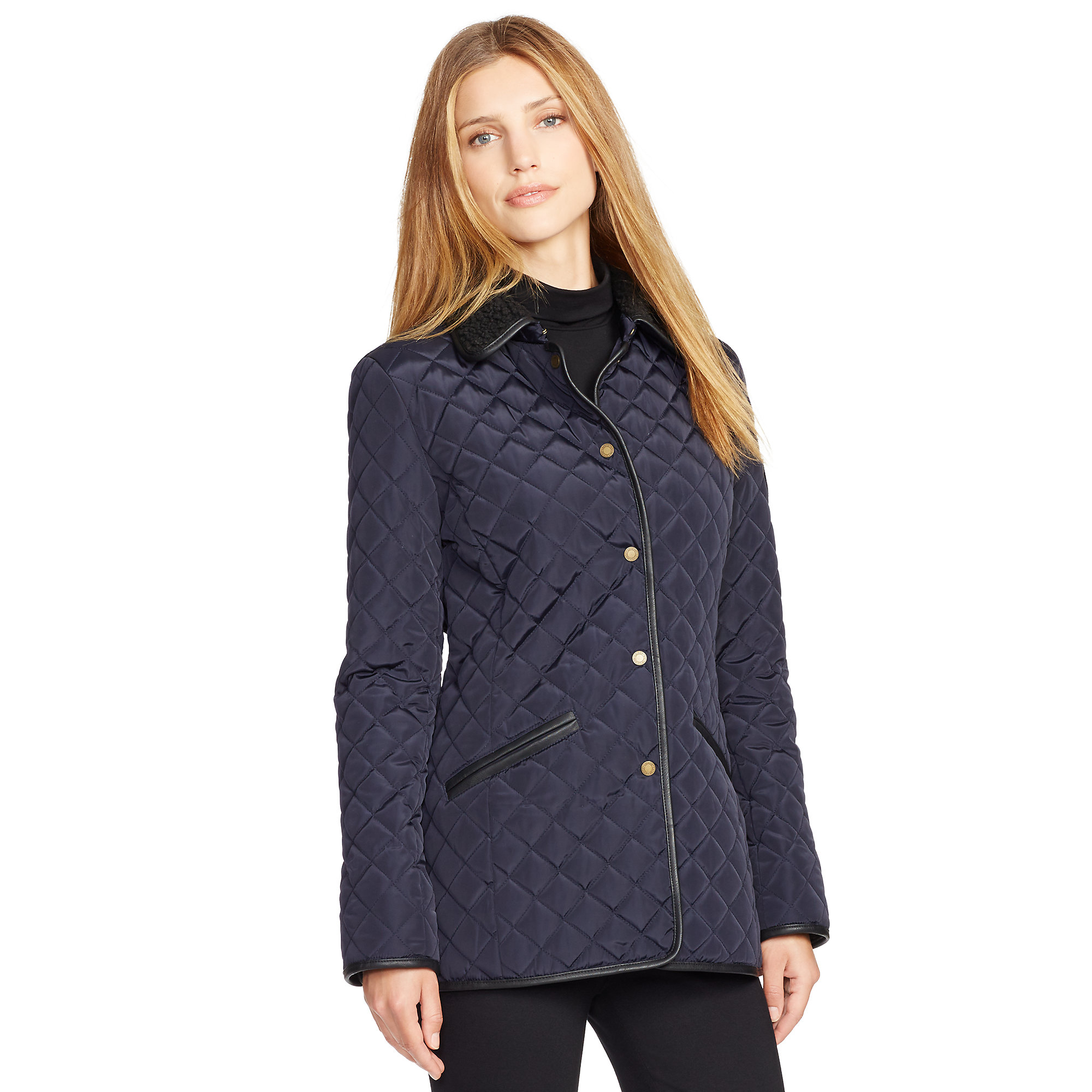 Ralph Lauren Faux Shearling Quilted Jacket In Blue Lyst