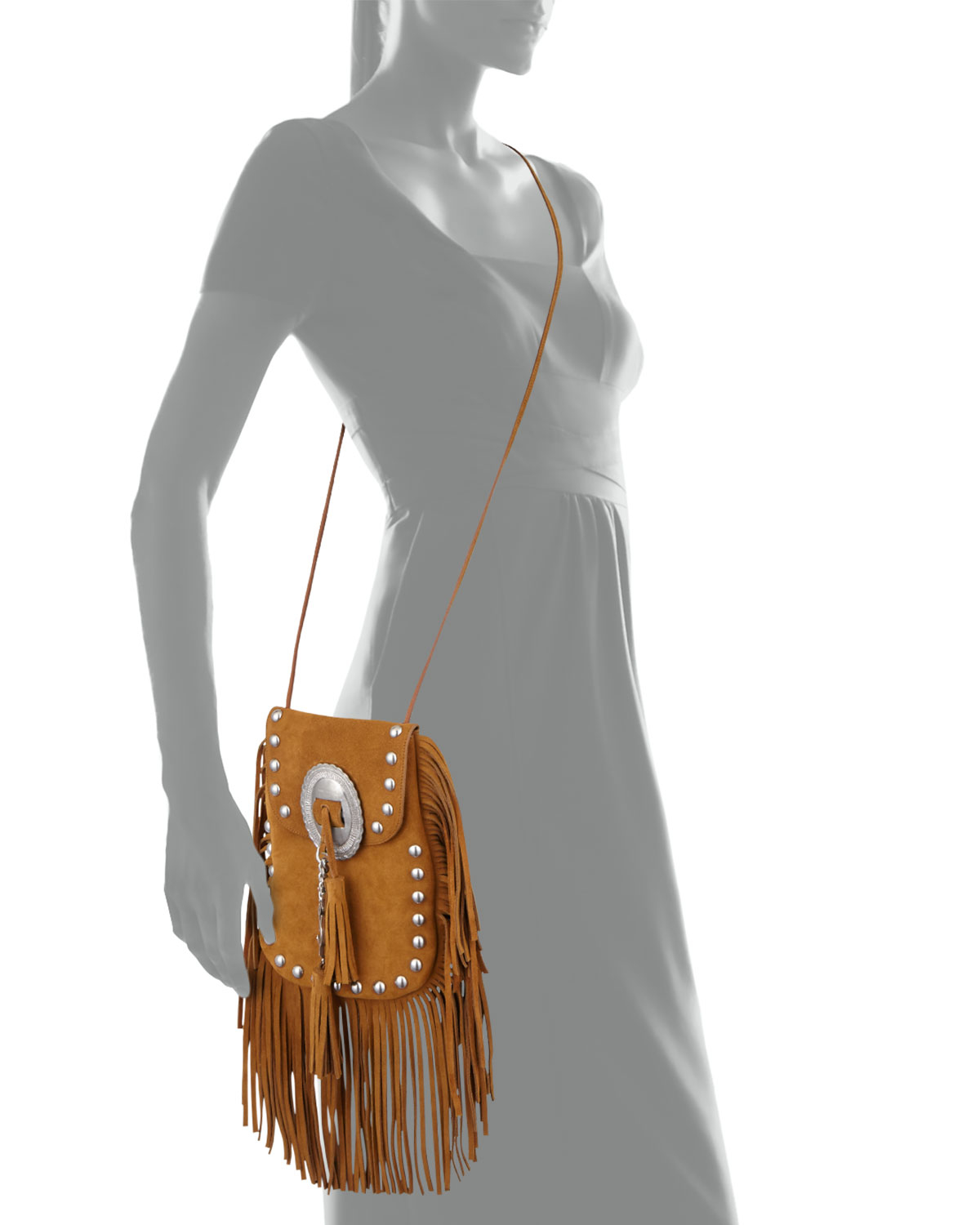 8f5991f08bf5 Lyst - Saint Laurent Anita Small Suede Fringed Shoulder Bag in Brown