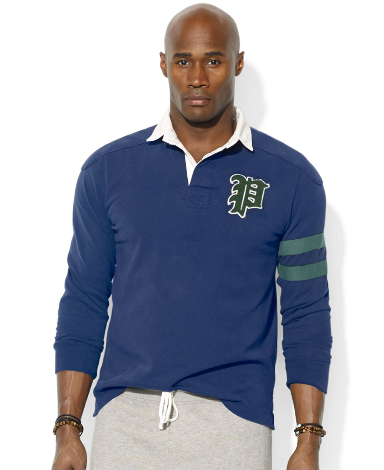Polo ralph lauren big and tall long sleeve rugby in blue for Big and tall polo rugby shirts