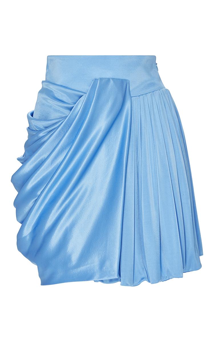 fausto puglisi draped mini skirt in blue light blue lyst