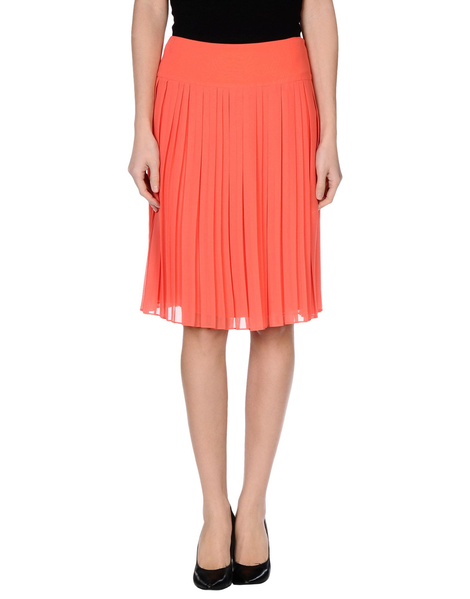 rena lange knee length skirt in orange coral lyst