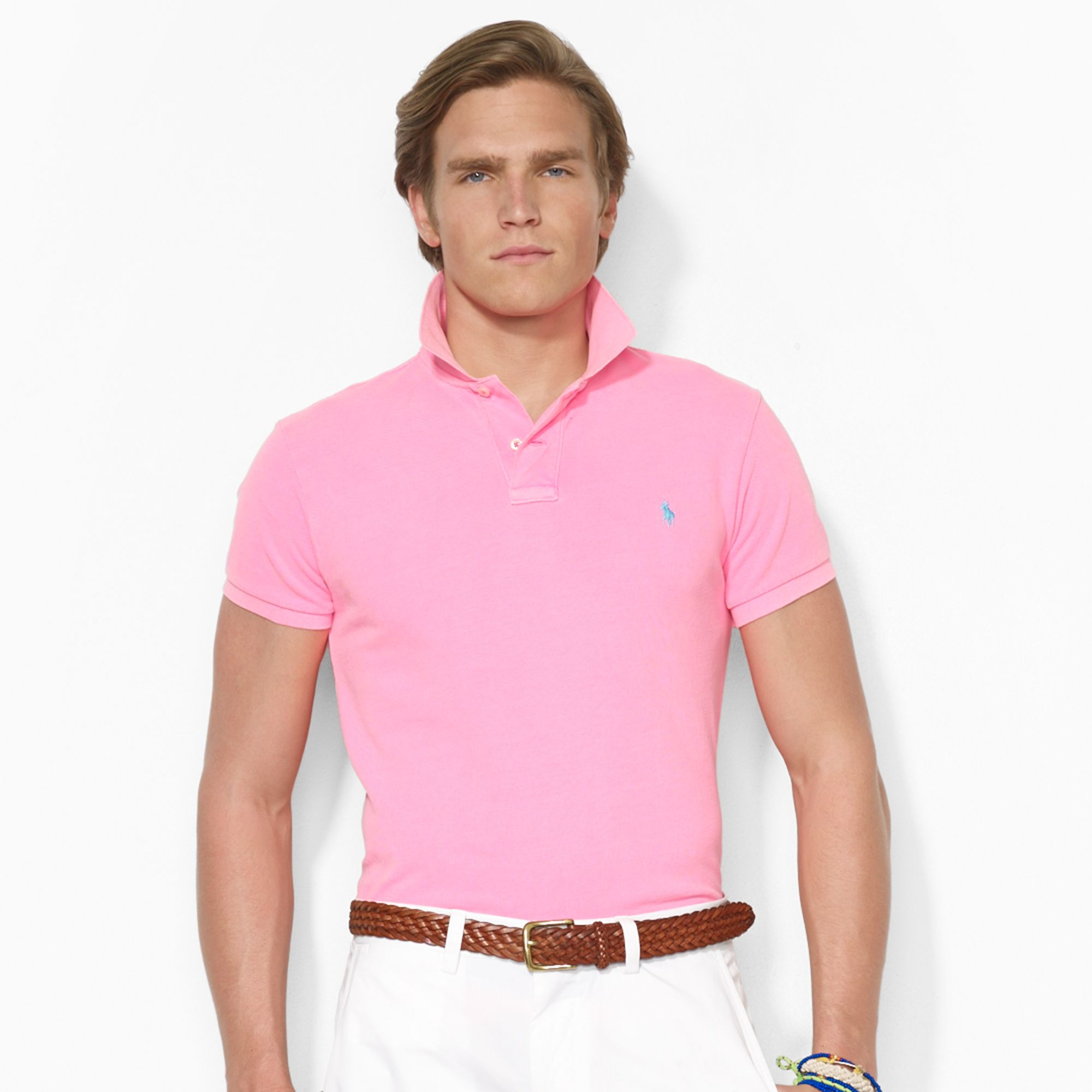 Polo ralph lauren custom neon mesh polo shirt in pink for for Man in polo shirt