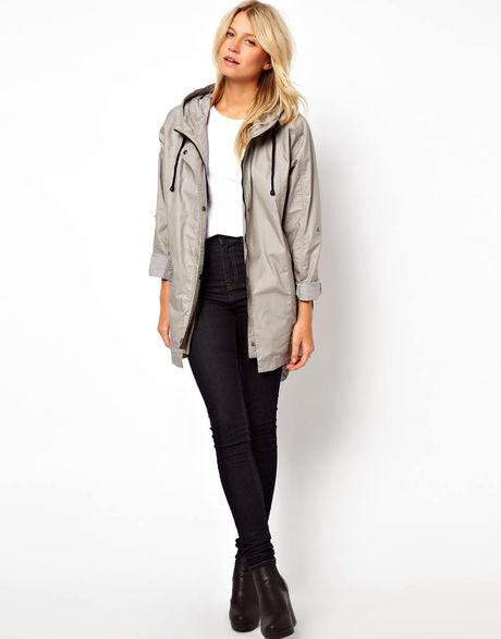 Asos Cocoon Parka in Gray (grey) - Lyst