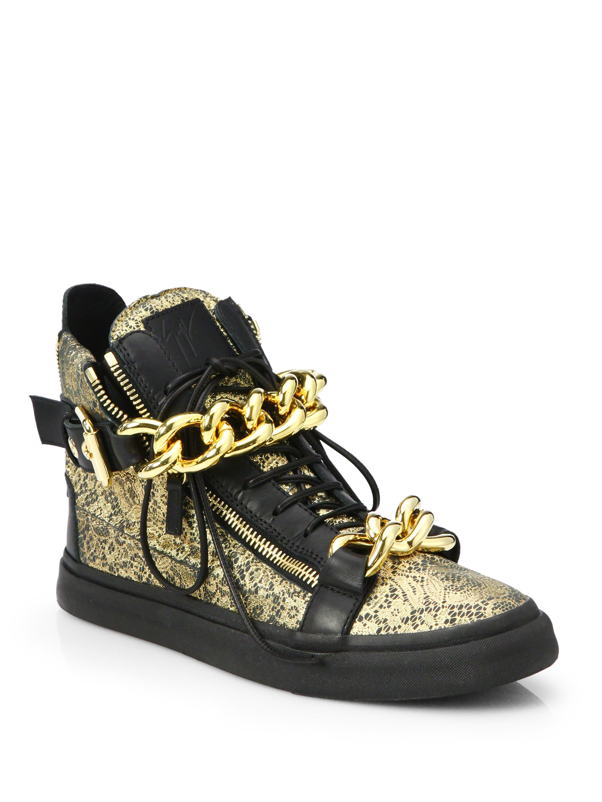 giuseppe zanotti double chain metallic lace printed leather high top sneakers in metallic for. Black Bedroom Furniture Sets. Home Design Ideas