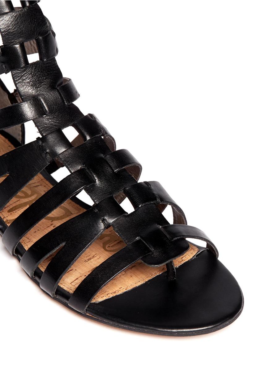 Lyst Sam Edelman Gemma Suede Flat Lace Up Sandal In Black