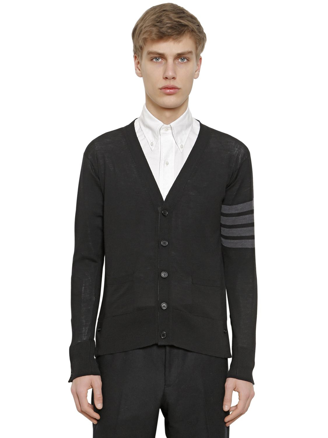 Thom browne Striped Merino Wool Cardigan in Black for Men | Lyst