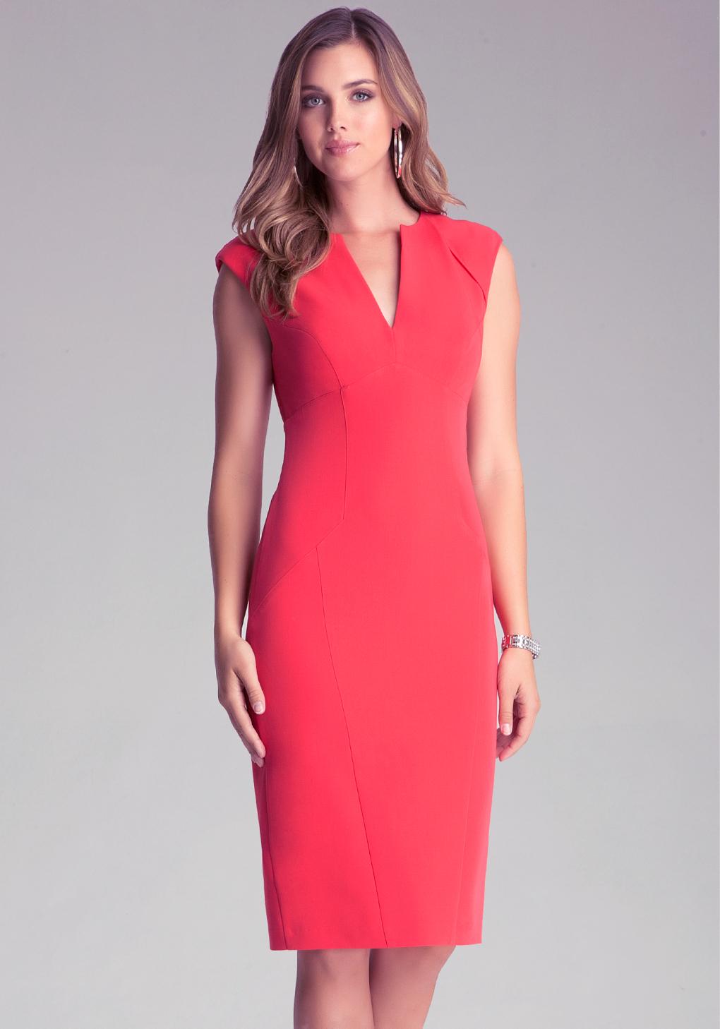 Lyst Bebe Brandie Midi Dress In Red