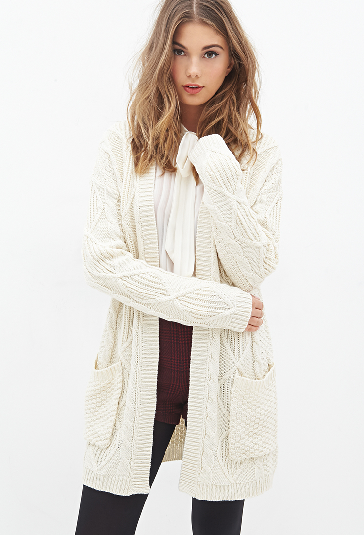 Lyst Forever 21 Longline Cable Knit Cardigan In Natural