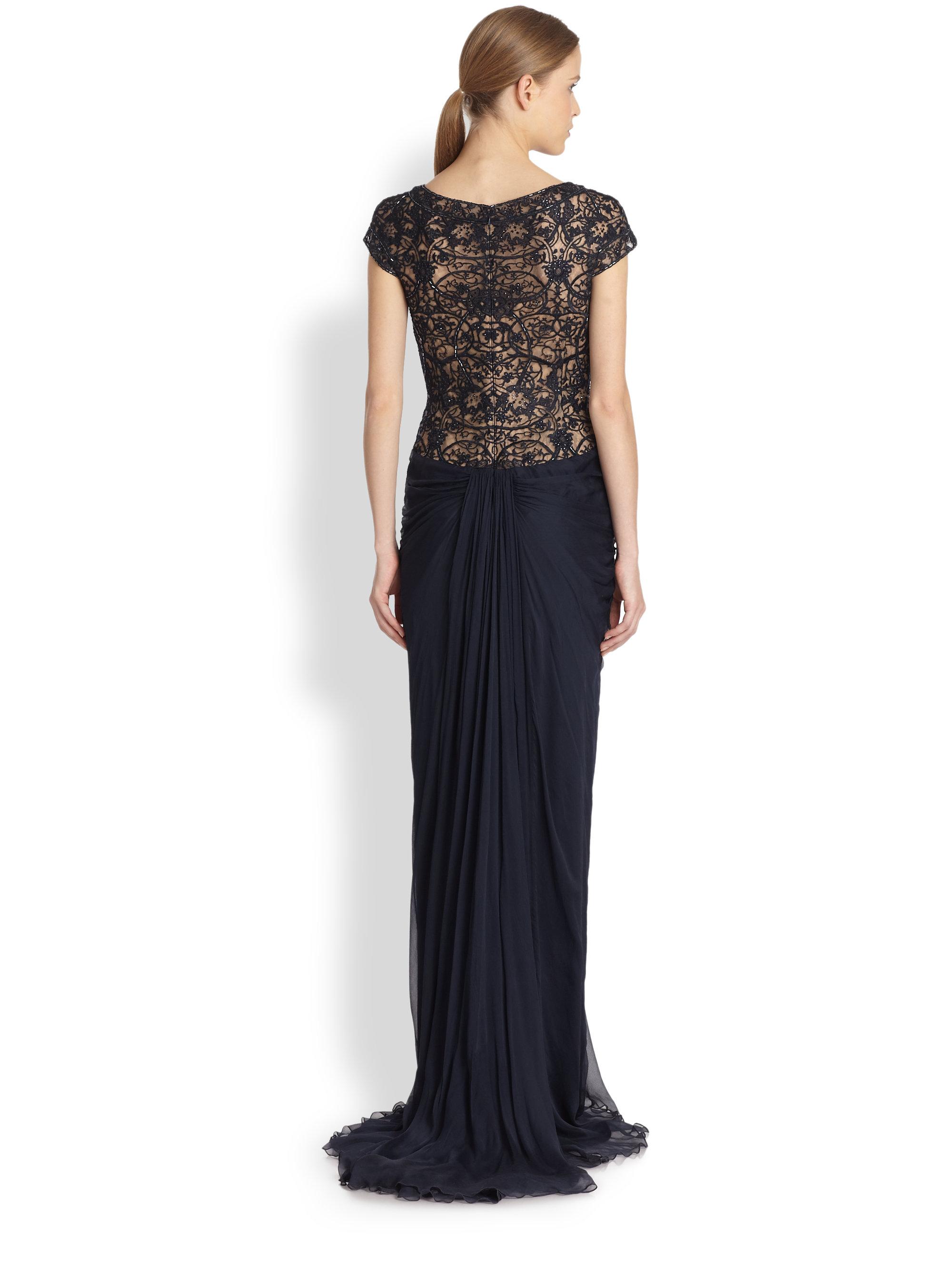 Tadashi shoji Illusion-lace Draped Silk Gown in Blue | Lyst