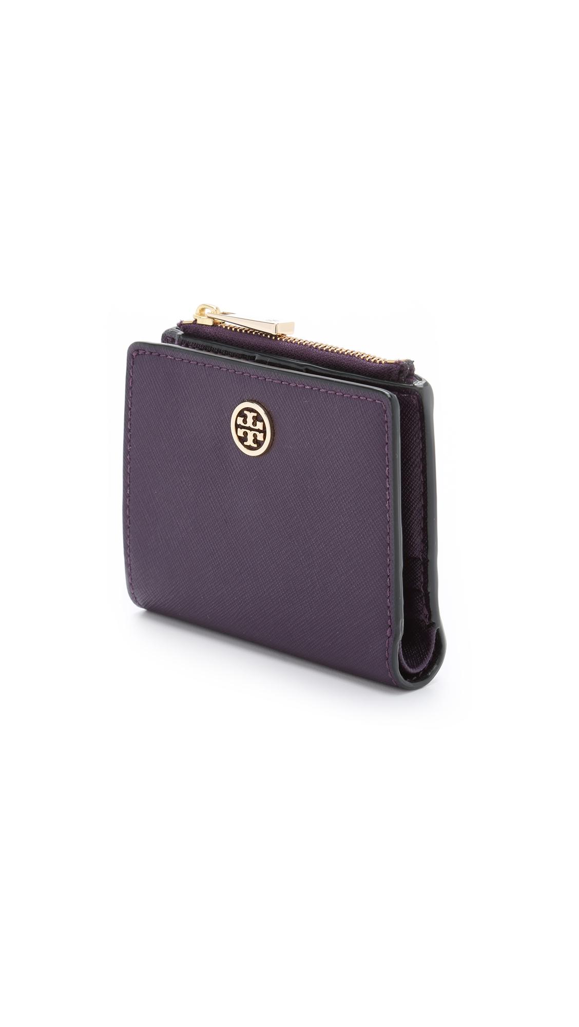 d65eb7a2757a ... wholesale lyst tory burch robinson mini wallet purple iris in purple  fa742 f4d57