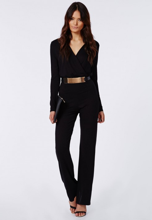 3d2294bbbb Lyst - Missguided Deliana Long Sleeved Wrap Wide Leg Jumpsuit Black ...